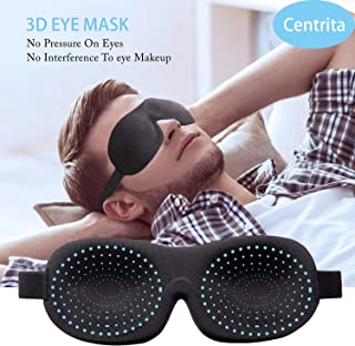 Sleeping mask&Eye Cover,Centrita Soft&Confortable 3D Contoured Eye mask with Adjustable Strap for Sleeping While Traveling,Work Shift,Naps.Blindfold Sleep mask for Men&Women.