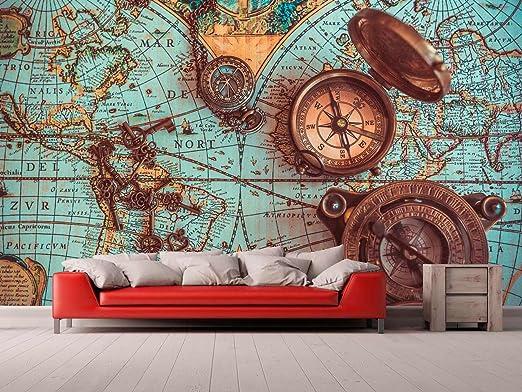 Fotomural Vinilo para Pared Mapa y Brujulas | Fotomural para Paredes | Mural | Vinilo Decorativo | Varias Medidas 150 x 100 cm | Decoración comedores, Salones, Habitaciones.: Amazon.es: Hogar