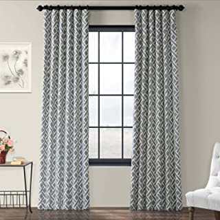 PRCT-D07C-108 Martinique Printed Cotton Curtain,Grey,50 X 108
