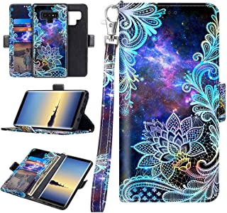 Casetego Compatible Note 9 Case,Detachable Magnetic Wallet Case PU Leather Full Body Protective Case with Credit Card Holders, Wrist Strap for Samsung Galaxy Note 9,Blue Mandala