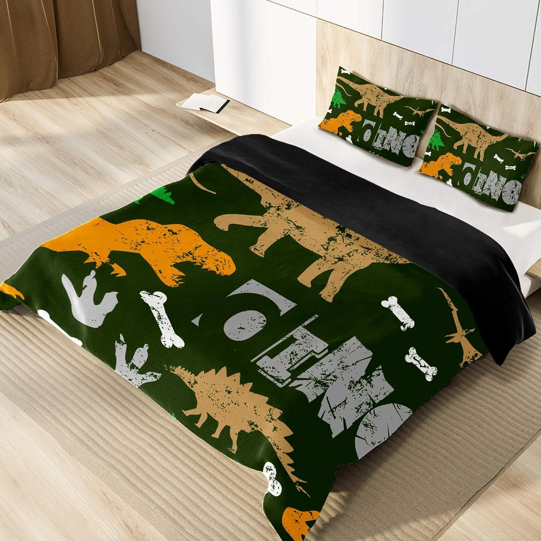 NEWzone Kids Duvet Cover Twin Dinosaur Footprint 通信販売 割引 Green Bedding