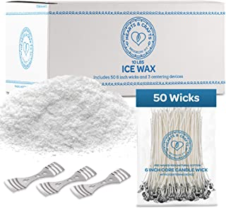 """Hearts and Crafts Ice Candle Wax and Wicks for DIY Candle Making, All-Natural - 10lb Bag with 50ct 6"""" Pre-Waxed Candle W..."""
