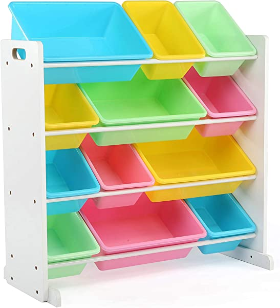 Tot Tutors Kids Toy Storage Organizer With 12 Plastic Bins White Pastel Pastel Collection Renewed