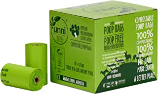 UNNI 100% Compostable Dog Poop Bags, Extra Thick Pet Waste Bags, 270 Count, 18 Refill Rolls, 9x13 Inches, Earth Friendly Highest ASTM D6400, US BPI and Europe OK Compost Home Certified, San Francisco