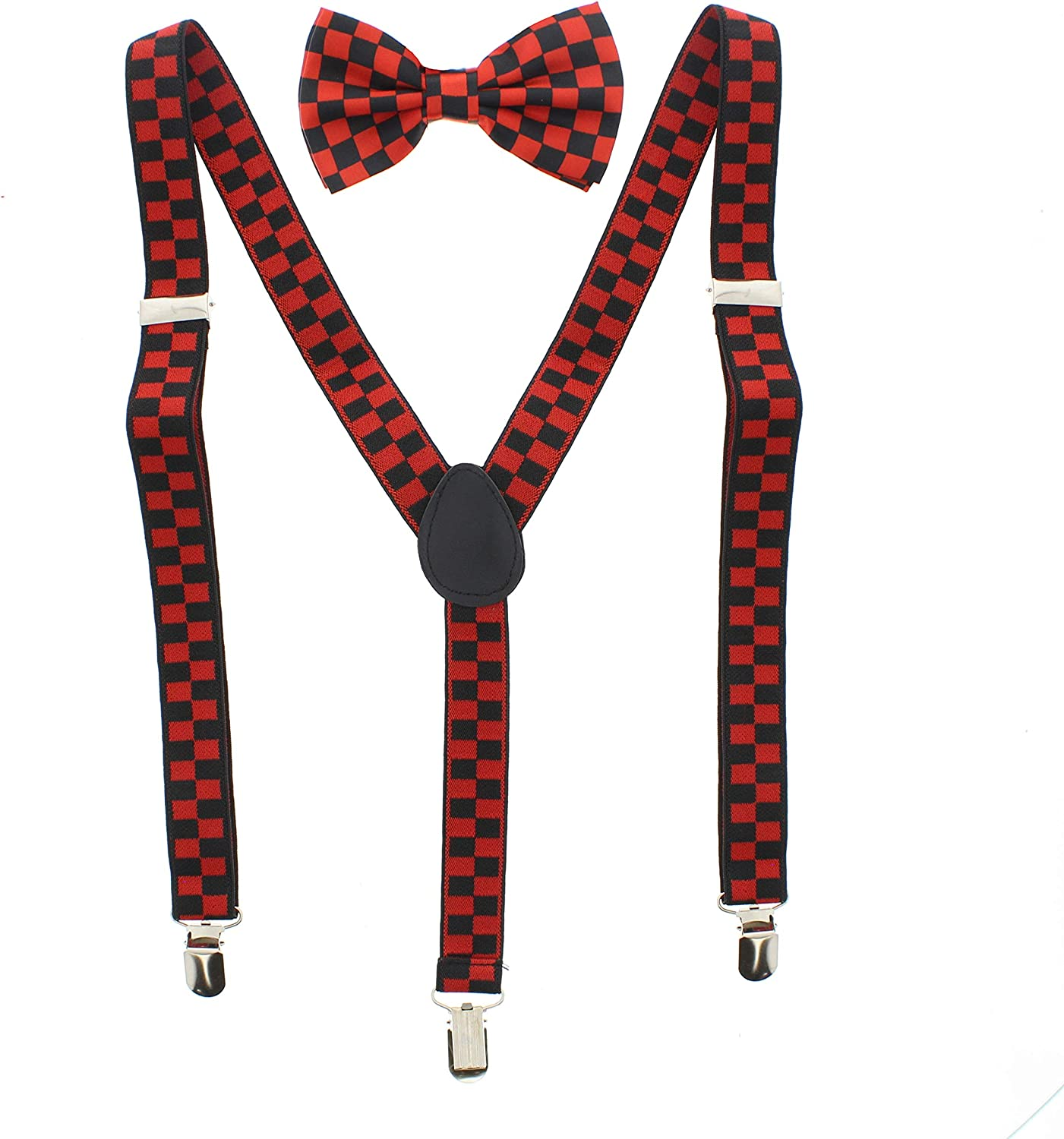Zac's Alter Ego Men's Matching Checkered Suspenders & Pre-Tied Bow Tie