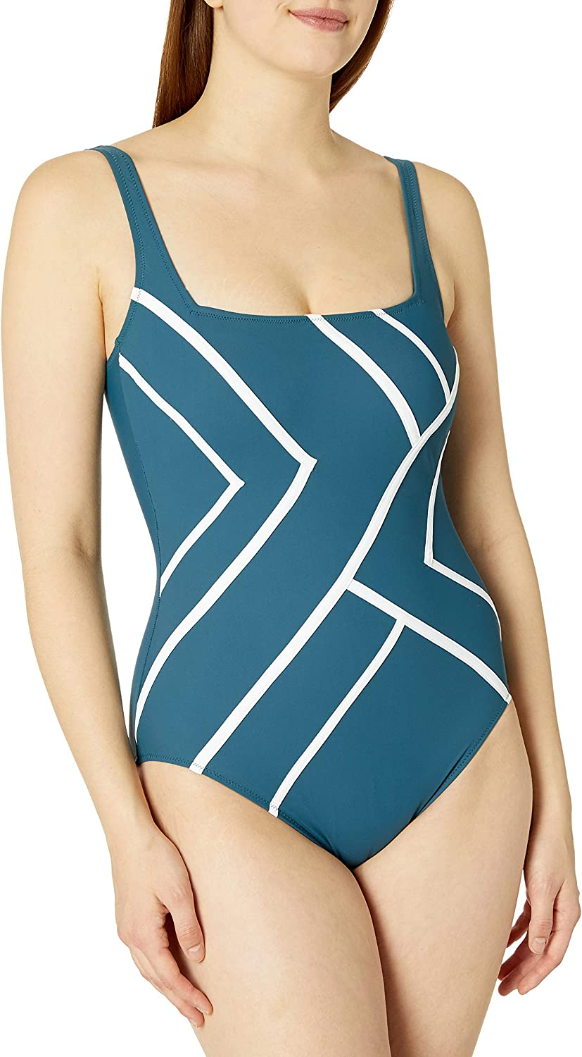 Gottex Women's Piped Shaped Square List price Super beauty product restock quality top Swimsuit One Piece Neck