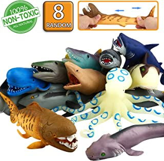 "ValeforToy Ocean Sea Animal, 8"" Rubber Bath Toy Set(8 Pack Random), Food Grade Material TPR Super Stretches, Some Kinds Ca..."