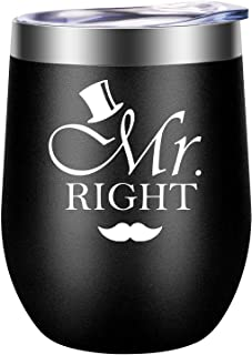 Mr. Right - Wedding Engagement Gifts for The Couples - Funny Anniversary, Honeymoon, Bachelor, Newlywed Couples Gifts for Men, Fiance, Groom, Husband, Newly Engaged, Married, Him - LEADO Wine Tumbler