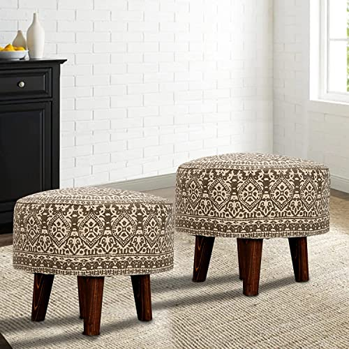 Nestroots Stool for Living Room Sitting Set of 2 Printed Ottoman upholstered Foam Cushioned pouffe Puffy for Foot Res...
