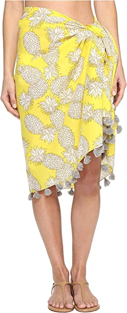 BSS1718 Woven Cotton All Over Pineapple Print Sarong with Tassels