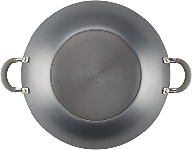 Circulon Elementum Hard Anodized Nonstick Stir Fry Wok Pan with Lid, 14 Inch, Oyster Gray
