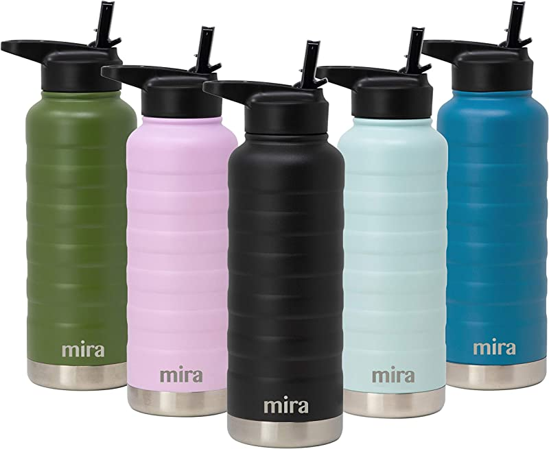 MIRA 32 Oz Stainless Steel Vacuum Insulated Ridge Water Bottle Double Walled Thermos Flask 24 Hours Cold 12 Hours Hot Reusable Metal Water Bottle Leak Proof Sports Bottle Black