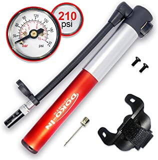 DOKO-IN Mini Bike Pump With Gauge,Frame Mount Bicycle Pump With Flexible Hose,Presta Schrader Compatible Tire Bike Pump,210 PSI Capacity,1 Year Warranty