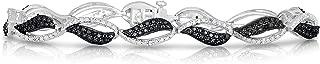 1/4 Cttw Rhodium Plated White and Black Diamond Braided Bracelet