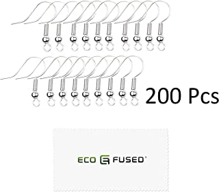 Eco-Fused 18mm Earring Hooks - 200 pcs - Coil and Ball Style Nickel-Free Ear Wires - Silver-Plated Steel- Great for DIY Earrings