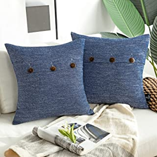 Phantoscope Farmhouse Throw Pillow Covers Triple Button Vintage Linen Decorative Pillow Cases for Couch Bed and Chair Navy...