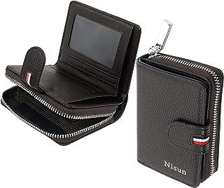 NISUN Imported 9 Slot PU Leather Debit/ATM/Credit Card Holder Zipper Wallet for Men & Women - Dark Brown (Size 11.5 cm x 9 cm x 3 cm)