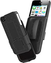 iPhone 4 4S Holster: Stalion Secure Shell Case & Belt Clilp Combo with Kickstand (Jet Black) 180° Degree Rotating Locking Swivel + Shockproof Protection