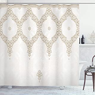 Ambesonne Moroccan Shower Curtain, Ornate Background with Traditional Soft Color Eastern Elements and Pattern, Cloth Fabric Bathroom Decor Set with Hooks, 84