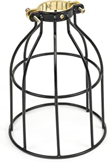 Rustic State Industrial Vintage Style | DIY Farmhouse Metal Wire Cage for Hanging Pendant Lighting | Light Fixture Lamp Guard | Rare Curved Design Black