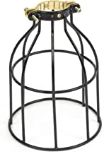 Rustic State Industrial Vintage Style   DIY Farmhouse Metal Wire Cage for Hanging Pendant Lighting   Light Fixture Lamp Guard   Rare Curved Design Black