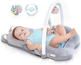 Tumbona de apoyo para la cabeza 3 en 1 para bebé, cama de bebé portátil, cama infantil para dormir nido de reposo, alfombrilla para el tiempo de la barriga de 0 a 6 meses, juguete de sonajero de arco y dentición, bolsa ? certificado de seguridad, suave, esencial para bebés recién nacidos