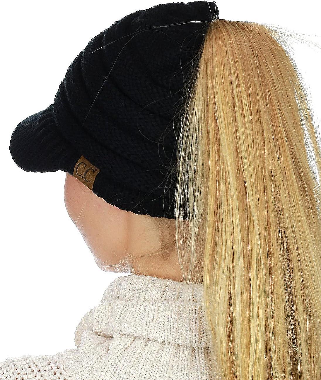 C.C BeanieTail Indefinitely Warm Knit Messy High Indefinitely Beanie Bun Ponytail Visor Ca