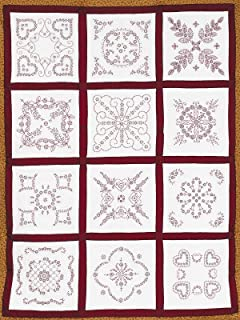 Jack Dempsey Needle Art 7411 Sampler Vintage Revival Quilt, 12 Block, 18-Inch by 18-Inch, White