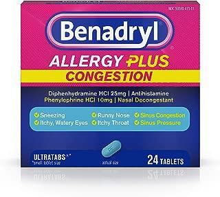 Benadryl Allergy Plus Congestion Ultratabs, Nasal Congestion Relief, Allergy Tablets, 24 Ct