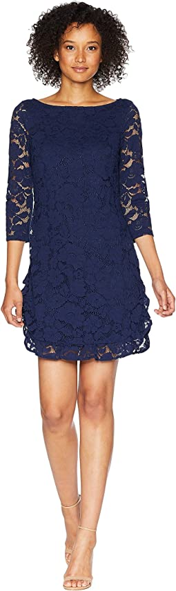 Lace Shift Dress with Ruffle Hem
