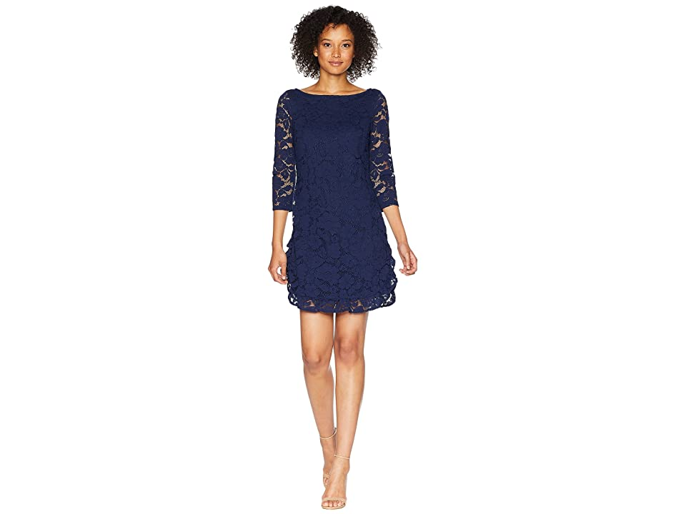 Vince Camuto Lace Shift Dress with Ruffle Hem (Navy) Women