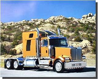 Gold Big Rig Truck Richard Stockton Semi Classic Wall Decor Art Print Poster (16x20)