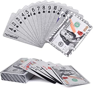 Joyoldelf Silver Foil Playing Cards, Waterproof Poker with Dollar Pattern in Gift Box for Magic, Game and Party
