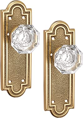 Belmont Plate Set with Old Town Crystal Door Knobs Privacy Antique Brass. Doorsets.