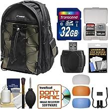 Canon 200EG Deluxe Digital SLR Camera Backpack Case + 32GB Card + Diffuser Kit for EOS 6D, 7D, 77D, 80D, 5D Mark II III IV, Rebel T6, T6i, T6s, T7i, SL2