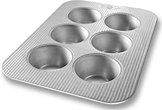 USA Pan Bakeware Texas Muffin Pan, 6 Well, Nonstick & Quick Release Coating, Made in the USA from Aluminized Steel