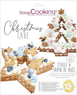 ScrapCooking - Kit Gabarits Christmas Cake Sapin & Étoile - Accessoires Pâtisserie pour Dessert Gâteau de Noël Number Cake...