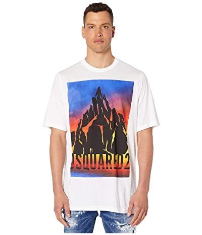 DSQUARED2 Dyed Mountain Slouch Fit T-Shirt (White) Men