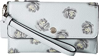 coach small wristlet with rose print