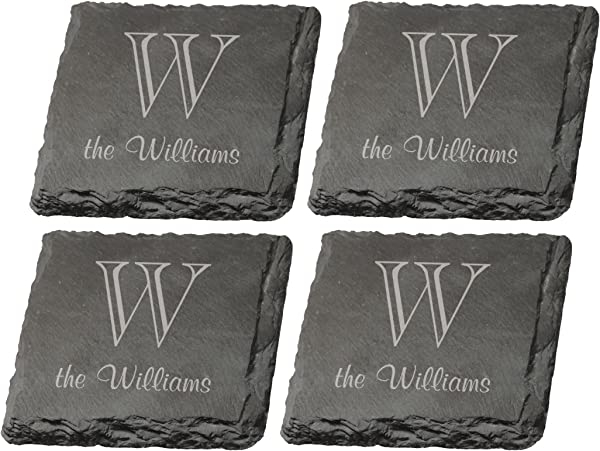 Set Of 4 Personalized Monogram Engraved P Graham Dunn Slate Coasters