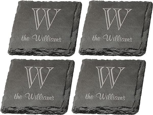 一套 4 个个性化的字母组合雕刻 P 格雷厄姆邓恩石板杯垫