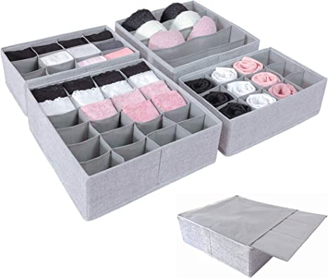 Simple Joy Drawer Organisers With Stable Base Storage System For Socks Bras Underwear Suitable For Ikea Furniture Fabric Storage Boxes In Grey Amazon De Home Kitchen