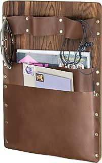 MyGift Wall-Mounted Rustic Wood & Leatherette 2-Slot Mail Sorter & Magazine Holder