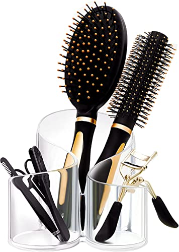 new arrival CAXXA Acrylic Makeup Brush Holder, wholesale 3 new arrival Compartment Desk Organizer Desktop Clear Cosmetics Organizer Lipstick Organizer (Clear) outlet online sale