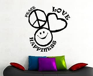 Peace Love Happiness Sign Wall Sticker Vinyl Decal Home Interior Design Living Room Dorm Bathroom Art Decor Waterproof Mural 5psg