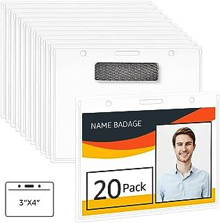 Amazon Basics Horizontal Magnetic Badge Holder - Pack of 20, Clear