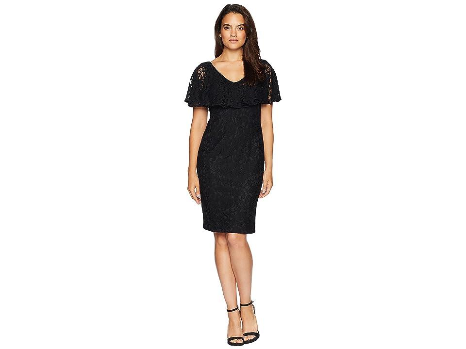 LAUREN Ralph Lauren Tamalira Short Sleeve Day Dress (Black) Women