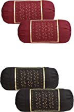 HSR Collection Embroidered Cotton Bolster Round Pillow Covers (Pack of 4, Maroon & Coffee)