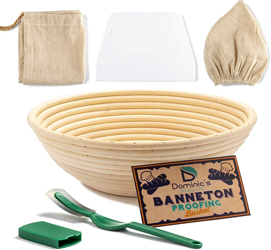 9 Inch Bread Banneton Proofing Basket SET With Plastic Bread Lame Dough Scraper Linen Liner Cloth Blank Fabric Bag Make Delicious Natural Homemade Bread 9 Inch
