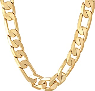 Lifetime Jewelry 11mm Figaro Chain Necklace 24k Gold Plated for Men Women & Teen with Free Lifetime Replacement Guarantee